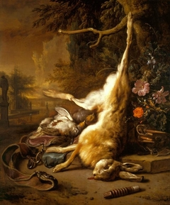 Dead Hare and Partridges with Instruments of the Chase
