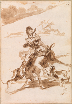 Dogs Chasing a Cat on a Man on a Donkey