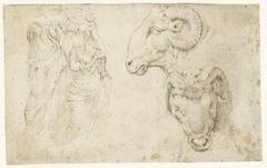 Drie standbeelden en twee studies van een ramskop op een kandelaar