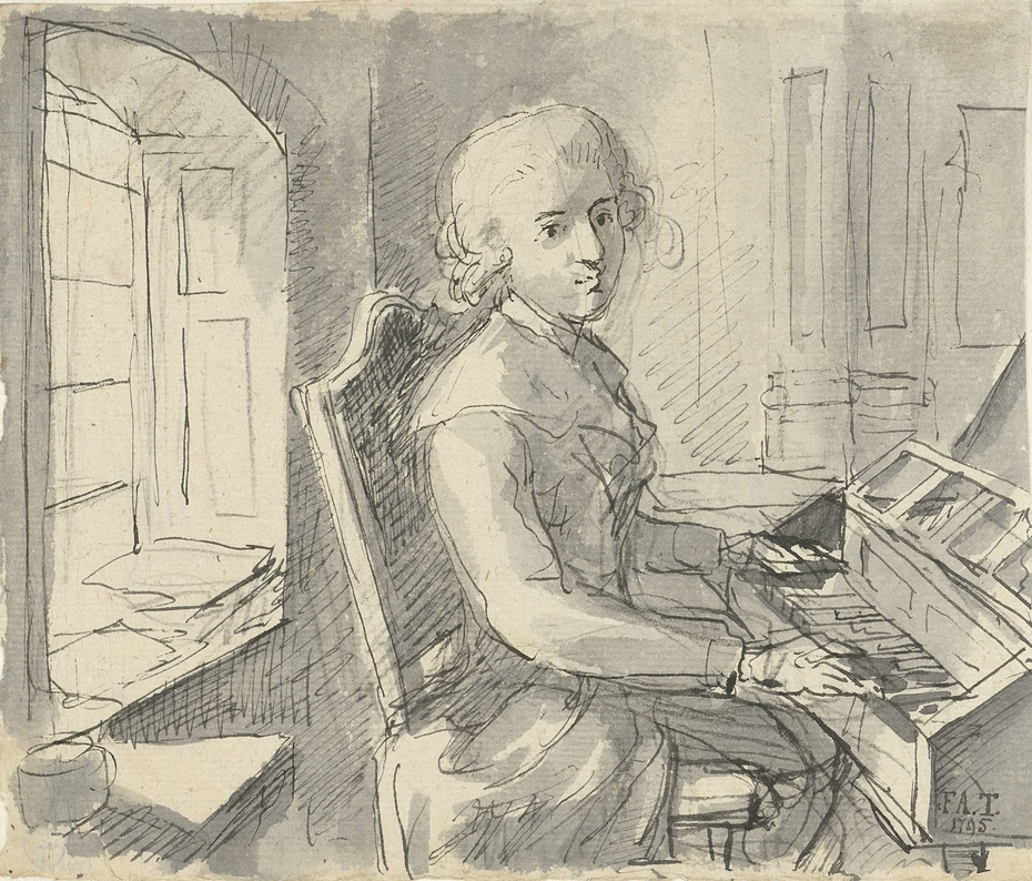Een pianist aan het klavier zittend