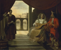 Elegant couple playing music on a terrace, with a maidservant pouring wine