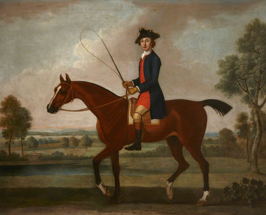 Equestrian Portrait of Sir Ralph Gore, 6th Bt, later 1st  Earl of Ross (1725-?1802) on his Bay Hunter in a Verdant Landscape