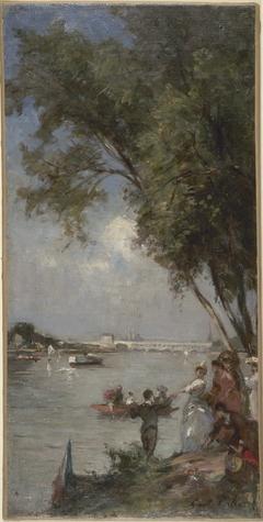 Esquisse pour le salon des Arts de l'Hôtel de Ville de Paris : La Seine au Bas-Meudon