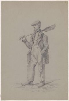 Figuurstudie van een staande man met een schop over zijn schouder