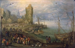 Fish market near a harbor