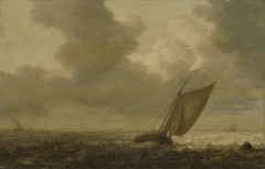 Fishing boat with the wind in the sails
