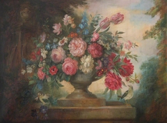 Floral Still Life in an Urn, on a Plinth, with Birds