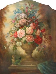 Flowers in an Urn with a Bird (firescreen)