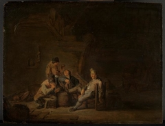 Four Peasants Drinking and Smoking at an Inn