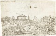 Gezicht op de San Stefano Rotondo, Rome, vanuit het noorden