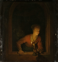Girl with Oil Lamp at a Window (Curiosity)