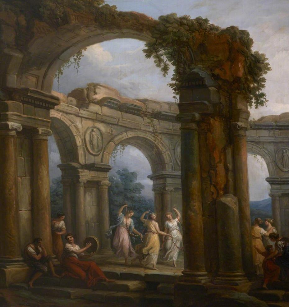Girls dancing amid Classical Ruins