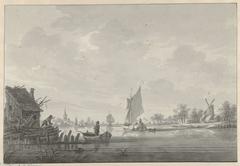 Het dorp Zijp aan de Lek, met zeilschepen op de rivier