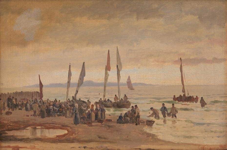 Hjemvendende fiskere modtages på Hornbæk Strand