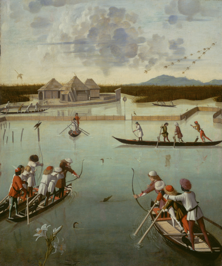 Hunting on the Lagoon (recto); Letter Rack (verso)