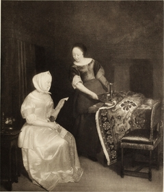 Interior with a woman reading a letter and a maid