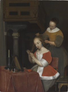 Interior with a young woman and her servant combing her hair