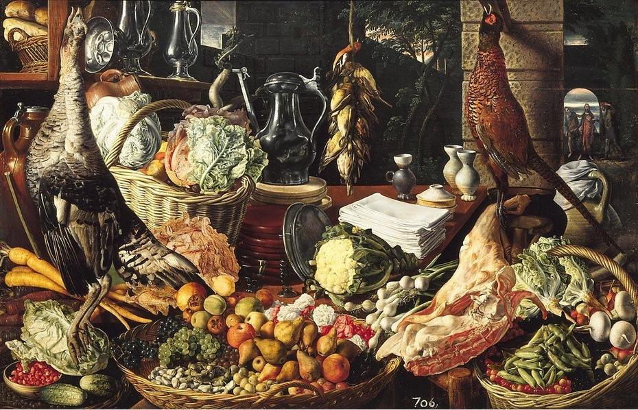 Kitchen scene with Christ at Emmaus