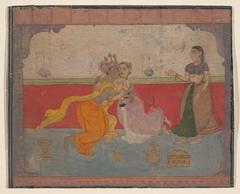 Krishna Kisses Radha: Page from the Boston Rasikapriya (Lover's Breviary)