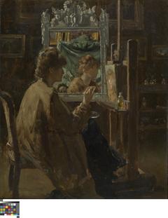 Kunstenares in haar atelier