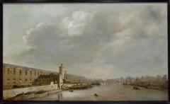 La Grande Galerie du Louvre avec la porte Neuve et la tour de Bois