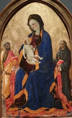 La Vierge allaitant l'enfant entre saint Pierre et saint François