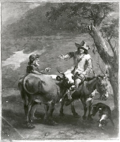 Landscape with a cowherd and a donkey rider