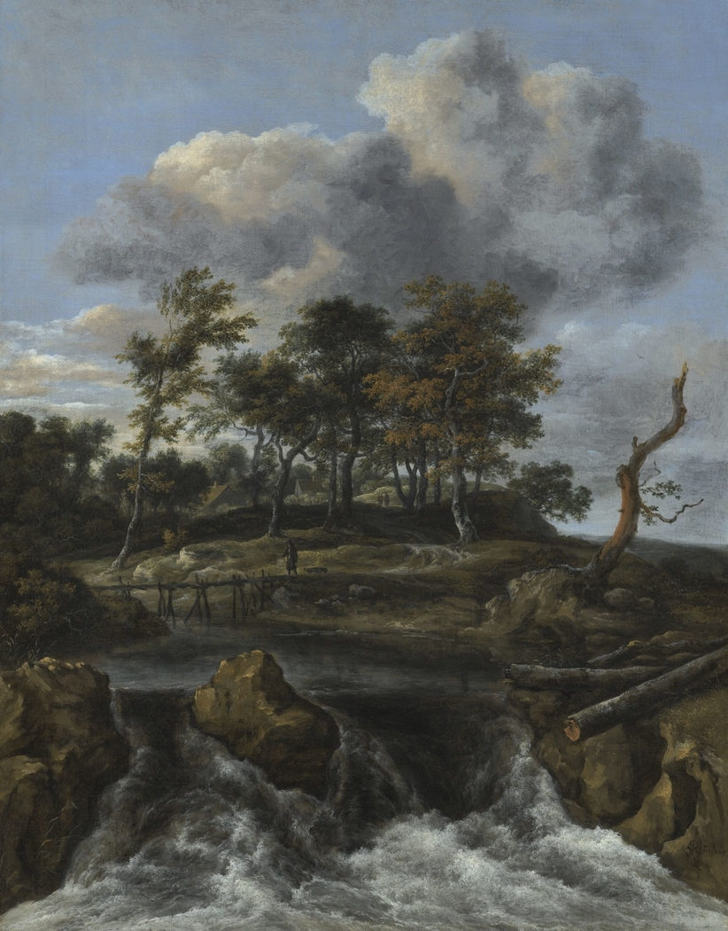 Landscape with waterfall and wooden footbridge