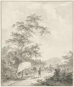 Landschap met paard en wagen