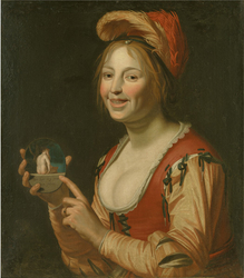 Laughing Girl Showing a Small Picture of a Nude Woman Seen from Behind