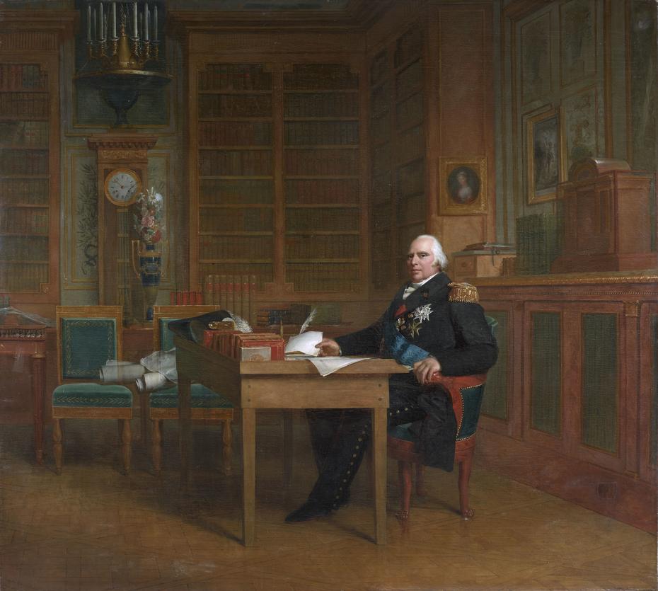 Le roi Louis XVIII dans son cabinet de travail des Tuileries