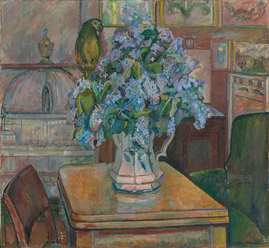Lilacs and Parrot