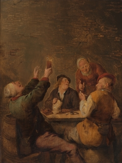 Merry company, three men at a table and a woman standing