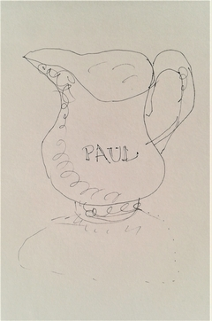 Milk jug at Paul's coffee shop; pen and ink