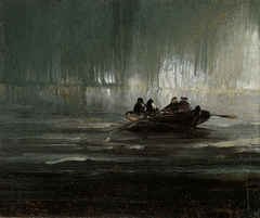 Northern Lights over Four Men in a Rowboat