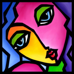 Once Again - Original Abstract painting Modern pop Art Contemporary Portrait FACE by Fidostudio