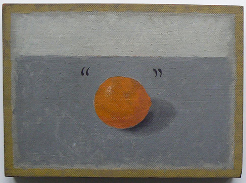 """Orange"" (1965) oil on hardboard, 13 and a half x 10 inches"