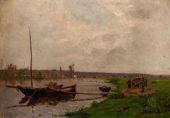 Paisaje fluvial con bote
