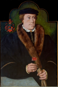 Portrait d'homme tenant un œillet et un gant