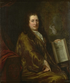 Portrait of Caspar Commelin, bookseller, newspaper publisher and author of the official history of Amsterdam 'Beschrijvinghe van Amsterdam'of 1693
