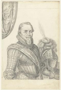 Portret van Prins Maurits in wapenrusting, ten halven lijve