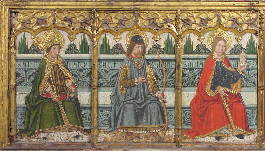 Predella panel with Saint Martial, Saint Sebastian, and Saint Mary Magdalen from Retable