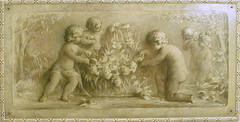 Putti playing with flowers near a pond