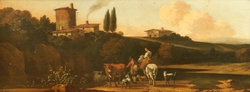 River Landscape with a Tower and Houses on a Hill on the far side, and a Herdsman with Cattle and goats conversing with a Woman on a Horse on a Road in the foreground