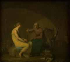 Røverbandens husholderske trøster den unge pige ved at fortælle myten om Amor og Psyche. Motiv fra Apulejus: Det gyldne æsel
