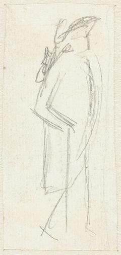 Schets van een man, lopend naar rechts
