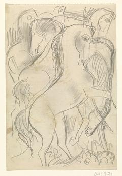 Schetsblad met studies van paarden