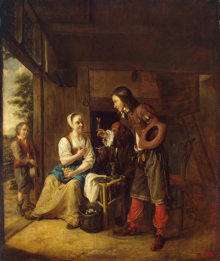 Soldier Offering a Woman a Glass of Wine