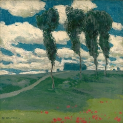 Spring Landscape with Poplar Trees