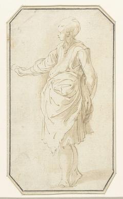 Staande vrouw, naar links gewend